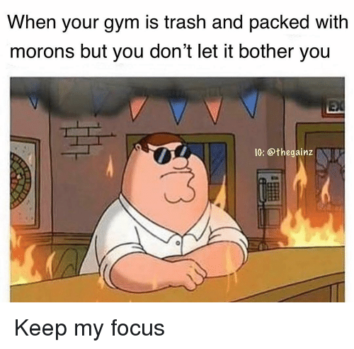 Gym, Memes, and Trash: When your gym is trash and packed with  morons but you don't let it bother you  IG: @thegainz Keep my focus