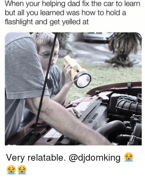 Dad, Memes, and Flashlight: When your helping dad fix the car to learn  but all you learned was how to hold a  flashlight and get yelled at Very relatable. @djdomking 😭😭😭