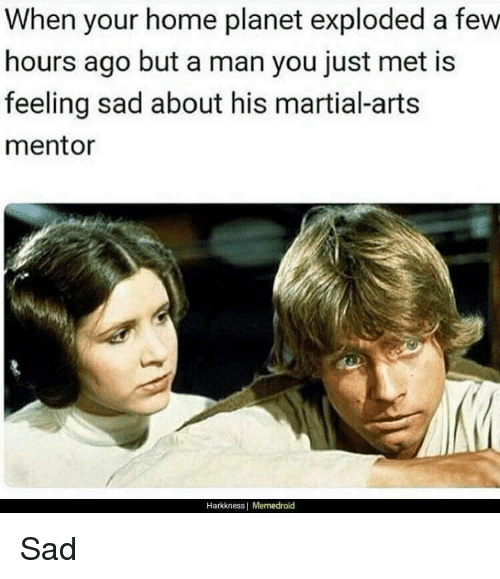 Memedroid: When your home planet exploded a few  hours ago but a man you just met is  feeling sad about his martial-arts  mentor  Harkkness | Memedroid <p>Sad</p>