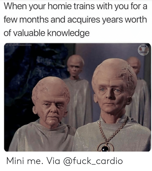 trains: When your homie trains with you for a  few months and acquires years worth  of valuable knowledge  G:@spartaaaaaaaaa  FUCK  CARDIO Mini me. Via @fuck_cardio