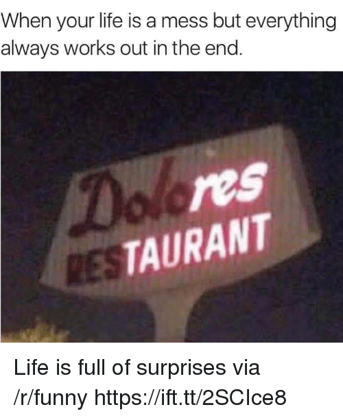Funny, Life, and Via: When your life is a mess but everything  always works out in the end  ol res  TAURANT Life is full of surprises via /r/funny https://ift.tt/2SCIce8