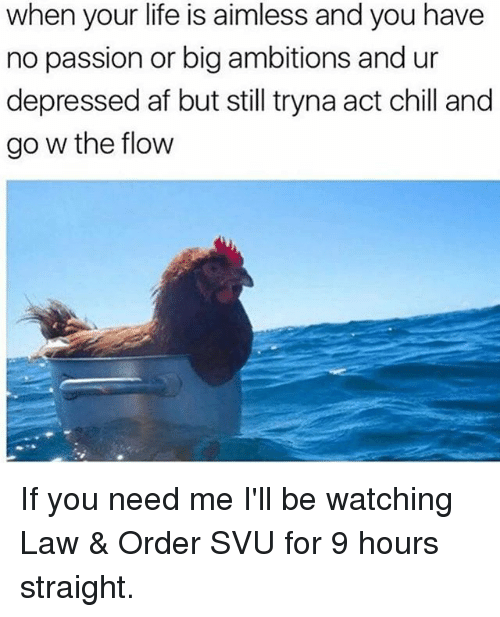 Af, Chill, and Life: when your life is aimless and you have  no passion or big ambitions and ur  depressed af but still tryna act chill and  go w the flow If you need me I'll be watching Law & Order SVU for 9 hours straight.