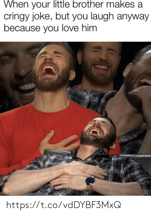 Love, Memes, and Little Brother: When your little brother makes a  cringy joke, but you laugh anyway  because you love him https://t.co/vdDYBF3MxQ