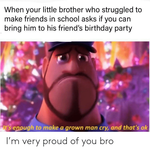 Birthday, Friends, and Party: When your little brother who struggled to  make friends in school asks if you can  bring him to his friend's birthday party  lt's enough to make a grown man cry, and that's ok I'm very proud of you bro
