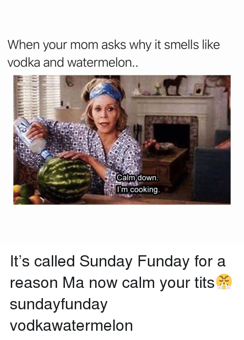 Funny, Tits, and Vodka: When your mom asks why it smells like  vodka and watermelon  L Calm down.  l'm cooking It's called Sunday Funday for a reason Ma now calm your tits😤 sundayfunday vodkawatermelon