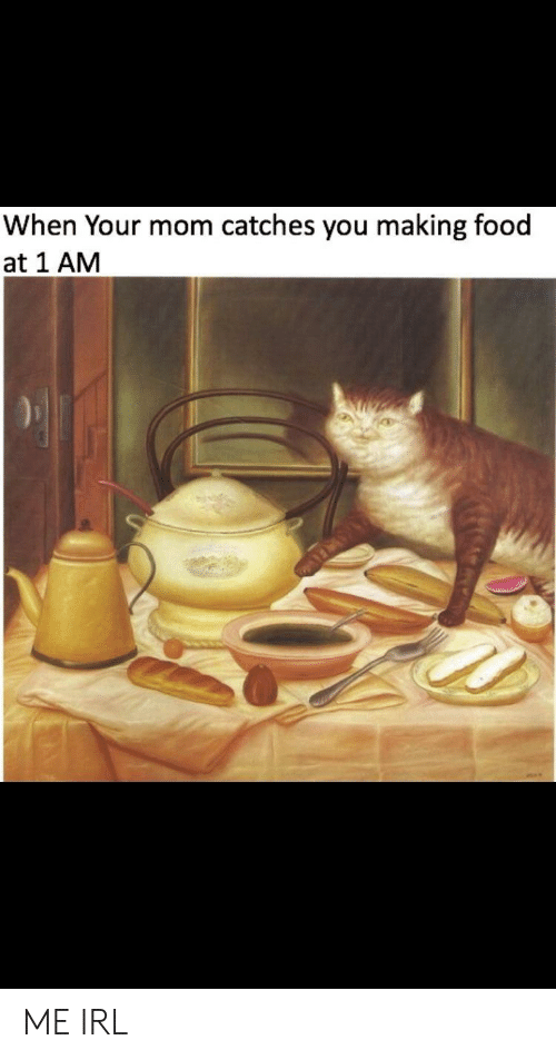 Food, Irl, and Me IRL: When Your mom catches you making food  at 1 AM ME IRL