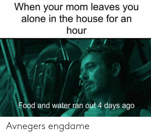 4 Days: When your mom leaves you  alone in the house for an  hour  Food and water ran out 4 days ago Avnegers engdame