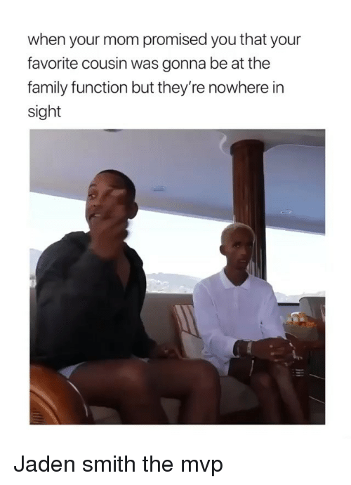 jaden smith: when your mom promised you that your  favorite cousin was gonna be at the  family function but they're nowhere in  sight Jaden smith the mvp