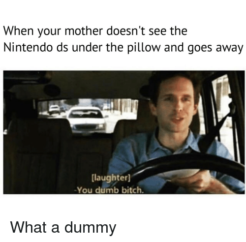 Bitch, Dumb, and Nintendo: When your mother doesn't see the  Nintendo ds under the pillow and goes away  [laughter]  -You dumb bitch. What a dummy