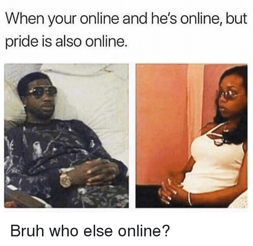 Bruh, Dank, and 🤖: When your online and he's online, but  pride is also online. Bruh who else online?