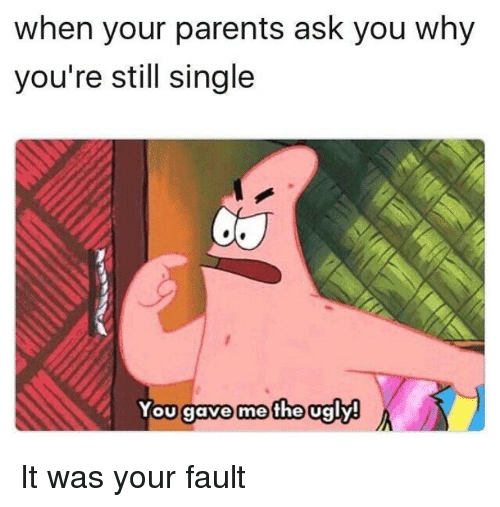 Memes, Parents, and Ugly: when your parents ask you why  you're still single  You gave me the ugly! It was your fault