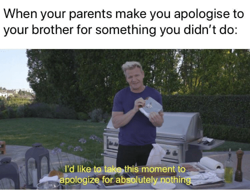 Parents, Brother, and Make: When your parents make you apologise to  your brother for something you didn't do:  l'd like to take this moment to  apologize for absolutely nothing