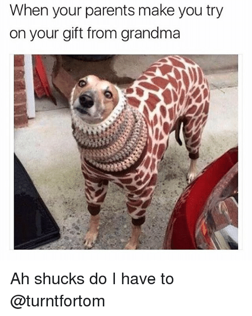 Funny, Grandma, and Girl Memes: When your parents make you try  on your gift from grandma Ah shucks do I have to @turntfortom