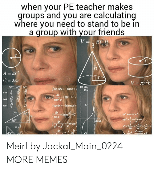 Dank, Friends, and Memes: when your PE teacher makes  groups and you are calculating  where you need to stand to be in  a qroup with your friends  tan (8)  30° 45 60  cos  cos  tan  3  dx  2  30°  arctg  dx1  b b-4ac Meirl by Jackal_Main_0224 MORE MEMES