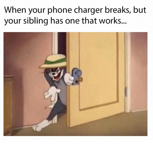 Phone Charger: When your phone charger breaks, but  your sibling has one that works..