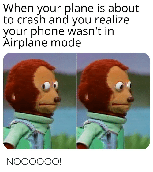 Airplane: When your plane is about  to crash and you realize  your phone wasn't in  Airplane mode NOOOOOO!