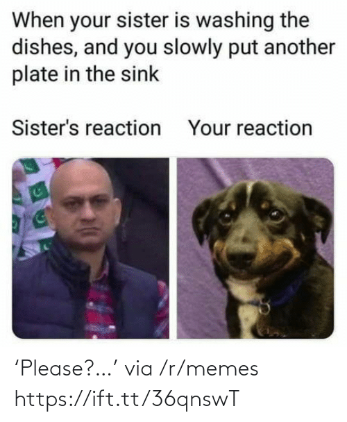 Memes, Another, and Sisters: When your sister is washing the  dishes, and you slowly put another  plate in the sink  Sister's reaction  Your reaction 'Please?…' via /r/memes https://ift.tt/36qnswT