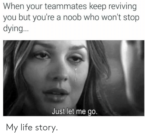 Life, Who, and You: When your teammates keep reviving  you but you're a noob who won't stop  dying..  Just let me go. My life story.