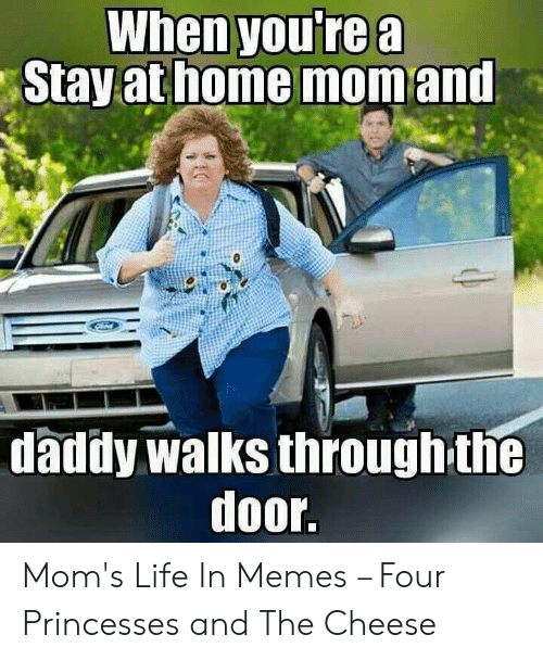 Life, Memes, and Moms: When youre a  athome  Stay  mom and  daddy walks throughthe  door. Mom's Life In Memes – Four Princesses and The Cheese