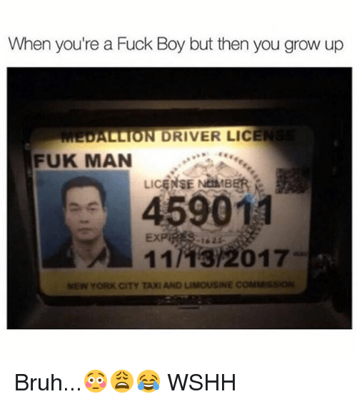 Bruh, Memes, and New York: When you're a FUCk Boy but then you grow up  DALLION DRIVER LICE  FUK MAN  45901  11/13/2017  -1625  NEW YORK CITY TAXI AND LIMOUSINE COMMSSION Bruh...😳😩😂 WSHH