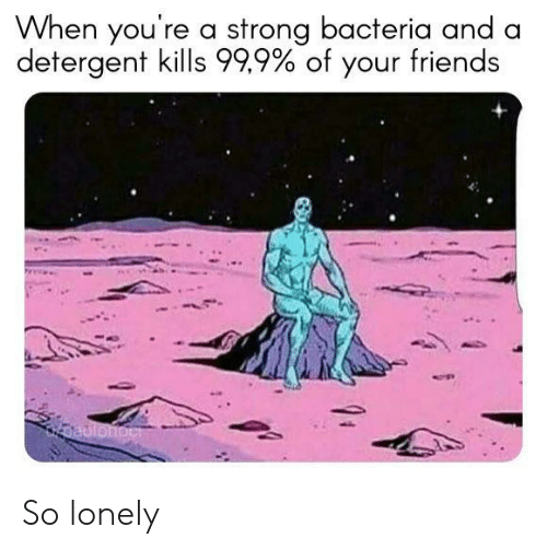 Friends, Strong, and Bacteria: When you're a strong bacteria and a  detergent kills 999% of your friends So lonely