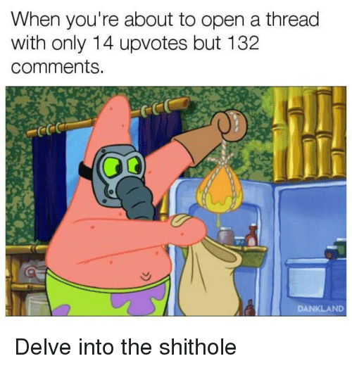 Open, Comments, and Youre: When you're about to open a thread  with only 14 upvotes but 132  comments.  DANKLAND Delve into the shithole