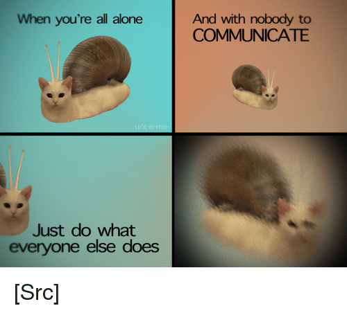 Advice, Being Alone, and Reddit: When you're all alone  And with nobody to  COMMUNICATE  Just do what  everyone else does [Src]