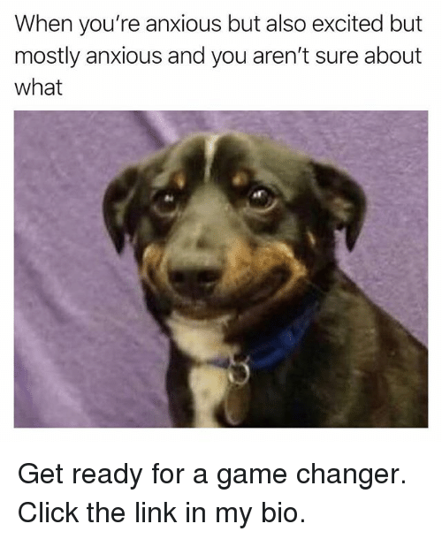 Click, Funny, and Game: When you're anxious but also excited but  mostly anxious and you aren't sure about  what Get ready for a game changer. Click the link in my bio.