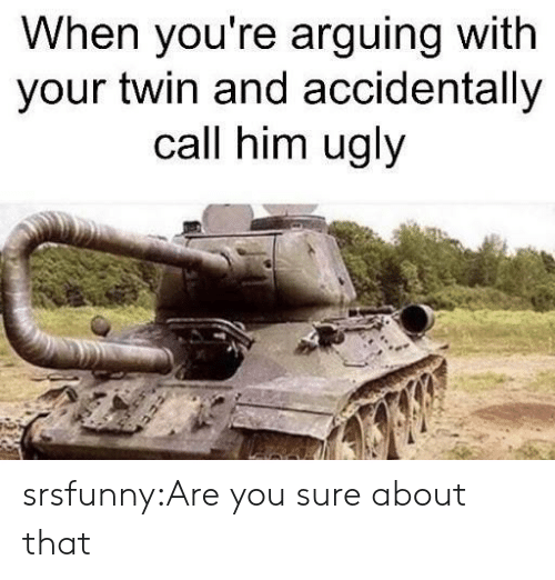 Tumblr, Ugly, and Blog: When you're arguing with  your twin and accidentally  call him ugly srsfunny:Are you sure about that