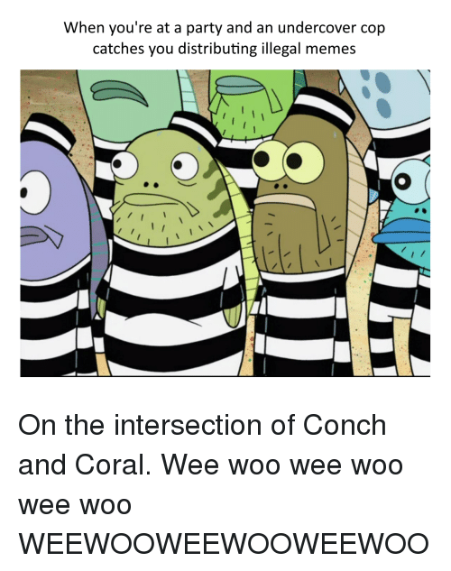 Illegal Memes: When you're at a party and an undercover cop  catches you distributing illegal memes <p>On the intersection of Conch and Coral. Wee woo wee woo wee woo WEEWOOWEEWOOWEEWOO</p>