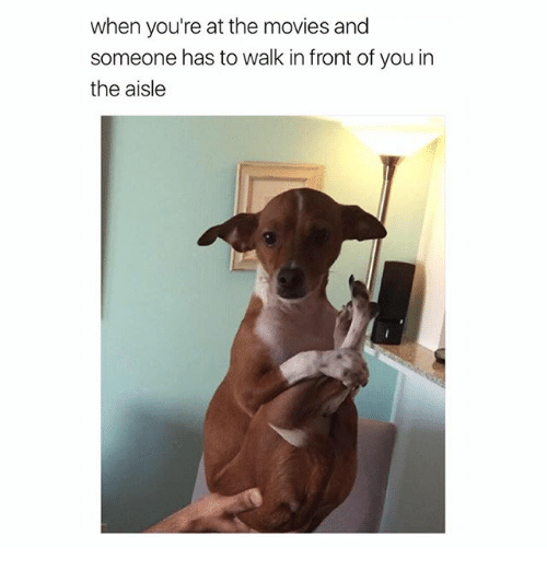 Movies, Girl Memes, and You: when you're at the movies and  someone has to walk in front of you in  the aisle
