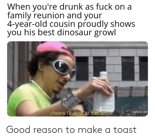 Youre Drunk: When you're drunk as fuck on a  family reunion and your  4-year-old cousin proudly shows  you his best dinosaur growl  cheers i'll drink to that bro Good reason to make a toast