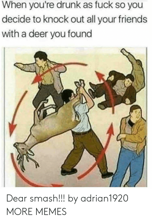 Youre Drunk: When you're drunk as fuck so you  decide to knock out all your friends  with a deer you found Dear smash!!! by adrian1920 MORE MEMES