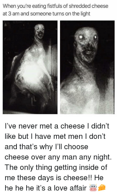 Love, Girl Memes, and Any Man: When you're eating fistfuls of shredded cheese  at 3 am and someone turns on the light I've never met a cheese I didn't like but I have met men I don't and that's why I'll choose cheese over any man any night. The only thing getting inside of me these days is cheese!! He he he he it's a love affair 🐮🧀