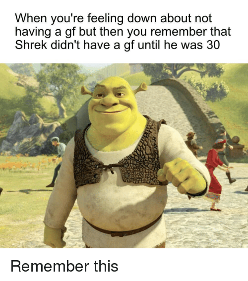 Shrek, Down, and Remember: When you're feeling down about not  having a gf but then you remember that  Shrek didn't have a gf until he was 30 Remember this