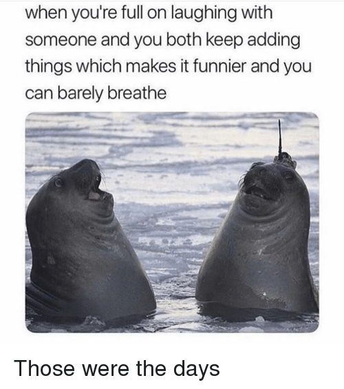 Can, You, and Laughing: when you're full on laughing with  someone and you both keep adding  things which makes it funnier and you  can barely breathe Those were the days