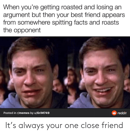 Your Best: When you're getting roasted and losing an  argument but then your best friend appears  from somewhere spitting facts and roasts  the opponent  Posted in r/memes by u/GriM749  reddit It's always your one close friend