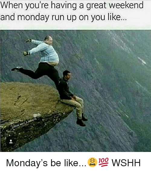 Great Weekend: When you're having a great weekend  and monday run up on you like. Monday's be like...😩💯 WSHH