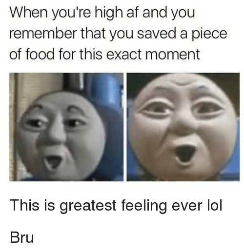 When Youre High Af: When you're high af and you  remember that you saved a piece  of food for this exact moment  This is greatest feeling ever lol Bru