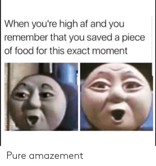 When Youre High Af: When you're high af and you  remember that you saved a piece  of food for this exact moment Pure amazement