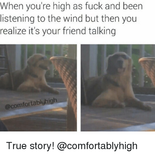 friends talk: when you're high as fuck and been  listening to the wind but then you  realize it's your friend talking  @comfortablyhigh True story! @comfortablyhigh
