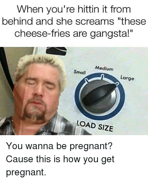 """Gangsta, Memes, and Pregnant: When you're hittin it from  behind and she screams """"these  cheese-fries are gangsta!""""  Medium  Small  Large  LOAD SIZE You wanna be pregnant? Cause this is how you get pregnant."""