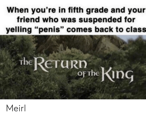 "Penis, MeIRL, and Back: When you're in fifth grade and your  friend who was suspended for  yelling ""penis"" comes back to class  The ReTuRIn  or Thein Meirl"
