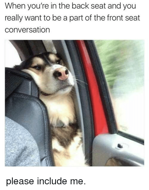 Memes, Converse, and 🤖: When you're in the back seat and you  really want to be a part of the front seat  conversation please include me.
