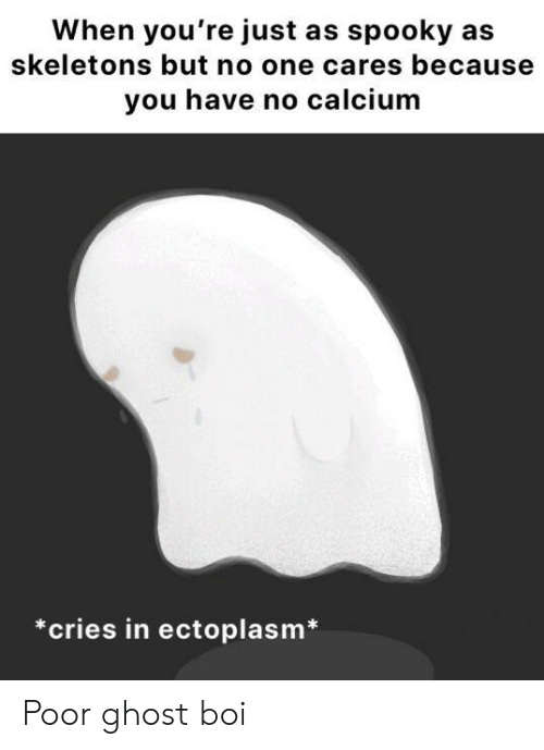 skeletons: When you're just as spooky as  skeletons but no one cares because  you have no calcium  *cries in ectoplasm Poor ghost boi