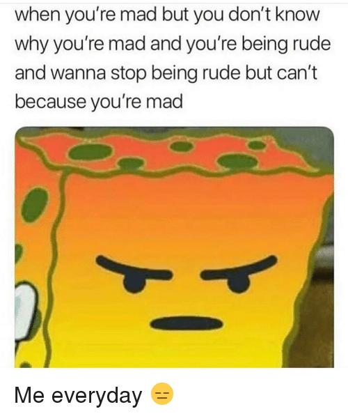 Funny, Rude, and Mad: when you're mad but you don't know  why you're mad and you're being rude  and wanna stop being rude but can't  because you're mad Me everyday 😑