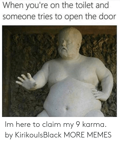 Dank, Memes, and Target: When you're on the toilet and  someone tries to open the door Im here to claim my 9 karma. by KirikouIsBlack MORE MEMES