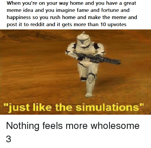 "Great Meme: When you're on your way home and you have a great  meme idea and you imagine fame and fortune and  happiness so you rush home and make the meme and  post it to reddit and it gets more than 10 upvotes  ""  just like the simulations  "" Nothing feels more wholesome 3"