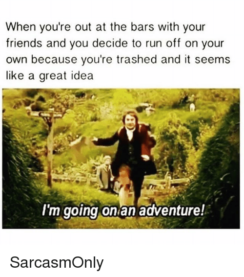 Friends, Funny, and Memes: When you're out at the bars with your  friends and you decide to run off on your  own because you're trashed and it seems  like a great idea  I'm going on an adventure! SarcasmOnly