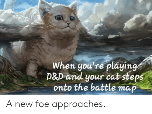 When Youre: When you're pláying  P&D and your cat steps  onto the battle map A new foe approaches.
